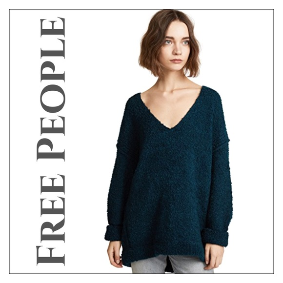 Free People Sweaters Nwot Deep Turquoise Lofty Vneck Sweater